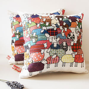 Flock Of Sheep Lavender Cushion - soft furnishings & accessories