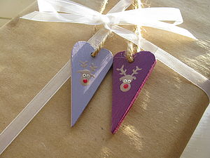 Hand Painted Set Of Two Reindeer Tags