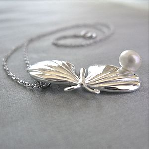 Flutter Silver Butterfly Pearl Necklace - necklaces & pendants