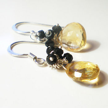 Citrine And Black Spinel Silver Earrings
