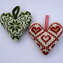 Scandinavian Fairisle Knitted Lavender Hearts
