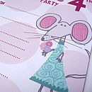 Eight Personalised Mouse Party Invitations