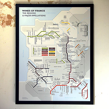 Metro Wine Map Of France Print