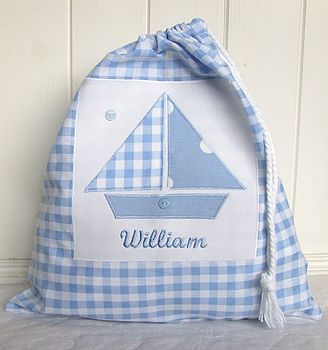 Personalised Boys Gingham Shoe Bag