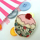 Leather Appliqued Cupcake Brooch