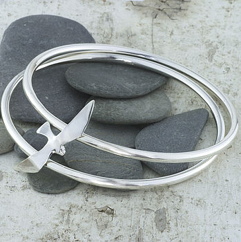 Silver Seagull Double Bangle