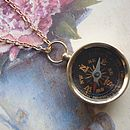 Compass Necklace Long Chain Pendant