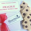 Four Christmas Tree Or Angel Shortbread Cards