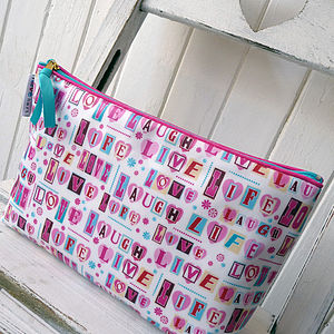 Vintage Style 'Love Laugh' Oilcloth Wash Bag - make-up & wash bags