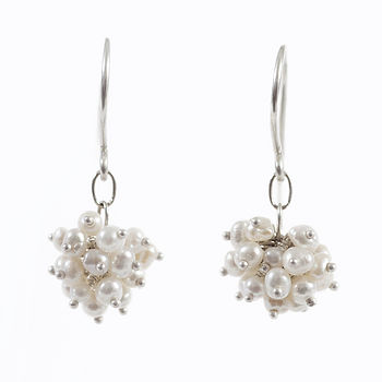 Pompom Earrings, Pearl And Silver