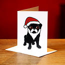 Black Pug and Santa Hat