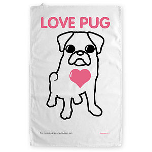 'Love Pug' Tea Towel
