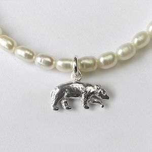Silver Power Animal Charms On Pearl Bracelet - bracelets & bangles