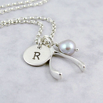 Personalised Silver Lucky Wishbone Necklace