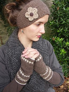 Nutmeg Flower Headband and Fairisle handwarmers