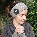 Silver grey flower headband and fairisle handwarmers