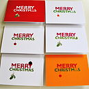 Set Of Six Typographic Christmas Cards