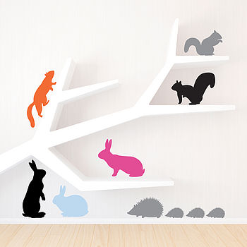 Three Packs Of Woodland Animals Wall Stickers