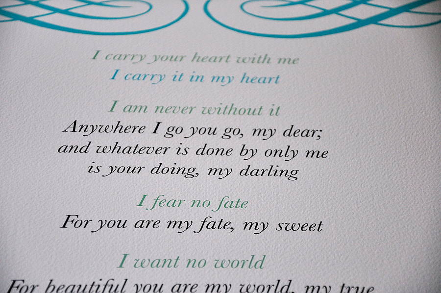 'i Carry Your Heart With Me' Love Poem Wall Hanging By