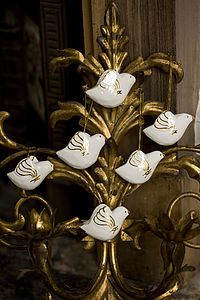 Box Of Six White And Gold Peace Doves - easter decorations