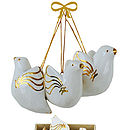 Box Of Six White And Gold Peace Doves