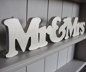 'Mr & Mrs' Hand Painted Freestanding Sign - decorative accessories
