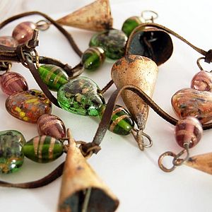 Indian Bells With Recycled Glass Beads - room decorations