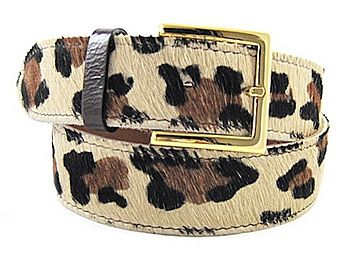 Leopard Print Calf Hair Leather Belt