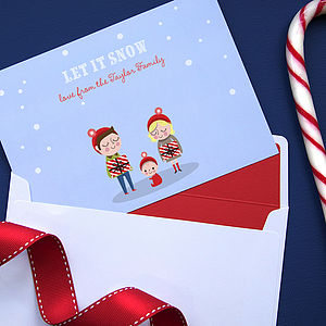 15 Personalised Winter Family Christmas Cards - cards & wrap