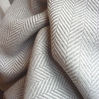 Extra Fine Merino Herringone Throw - Silver