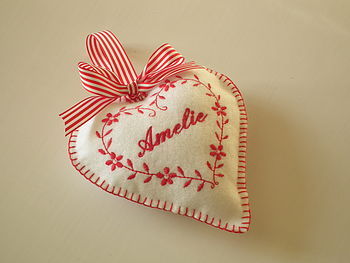 White Heart with Red Embroidery
