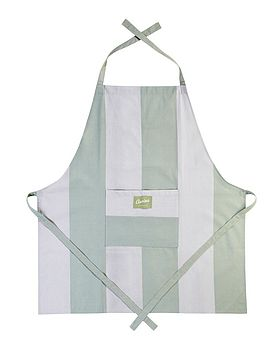 Wide Striped Apron Duck Egg and Stone