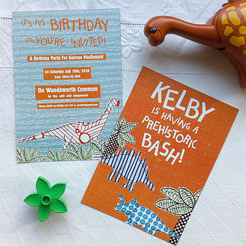 Pack Of Ten Personalised Dinosaur Invites