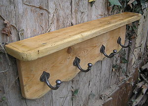 Reclaimed Antique Pine Rack, Hook Shelf