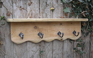 Reclaimed Antique Pine Rack, Hook Shelf - furniture