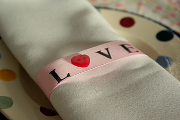 Pack Of Six 'Love' Stamped Napkin Rings
