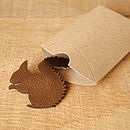 leather squirrel badge metallic bronze & packaging