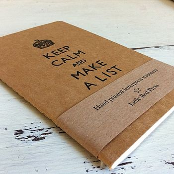 Keep Calm And Make A List Pocket Notebook