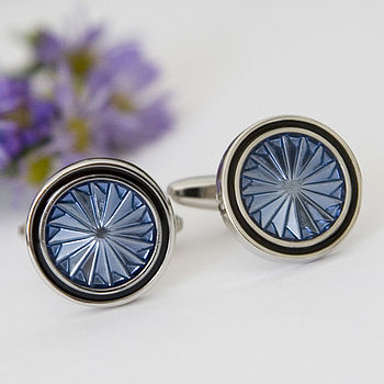 Silver Plated Turbine Cufflinks, blue