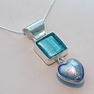 Murano Glass and Sterling Silver Small Square and Heart Pendant