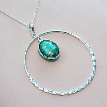 Murano Glass & Sterling Silver Circle Pendant -  Sea Green