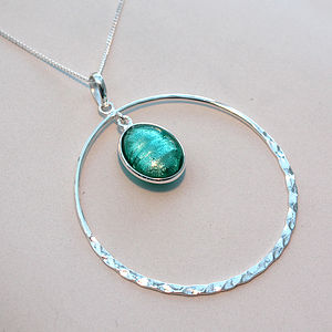 Murano Glass & Sterling Silver Circle Pendant - women's jewellery