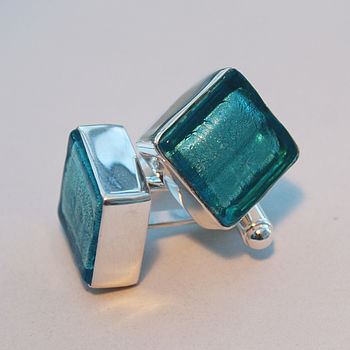 Murano Glass Square Silver Cufflinks - Aqua Blue