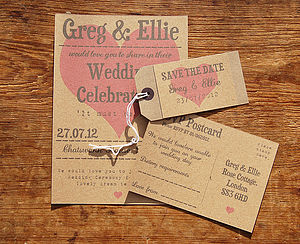 Love Heart Wedding Stationery Range - invitations