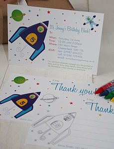 Space Rocket Invites Or Thank You Notes - children's parties