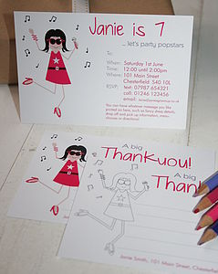 Pop Star Invites Or Thank You Notes - children's party invitations