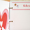 greetings card organiser month of february