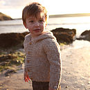 Boy's Oatmeal Merino Alpaca Hooded Cardi