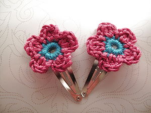 A Pair Of Bright Handmade Hairclips - hair accessories
