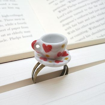 Teacup Ring With Red Hearts
